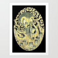 Steamechanical Octopus Art Print