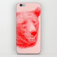 Brown bear is red and pink iPhone & iPod Skin