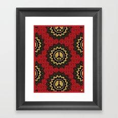 Peace Mandala Pattern Print Red Edition Framed Art Print