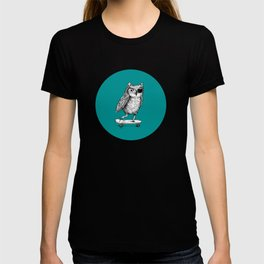 Ride On Owl_teal T-shirt