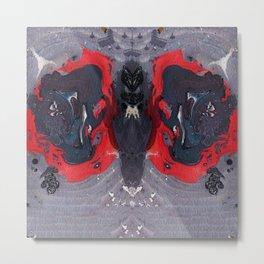 Purple Butterfly Marble Painting Metal Print