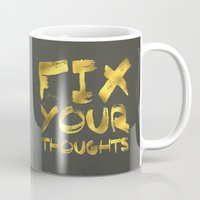 """pocketfuel Mugs featuring Phil 4:8 """"Fix your thoughts..."""" by Pocket Fuel"""