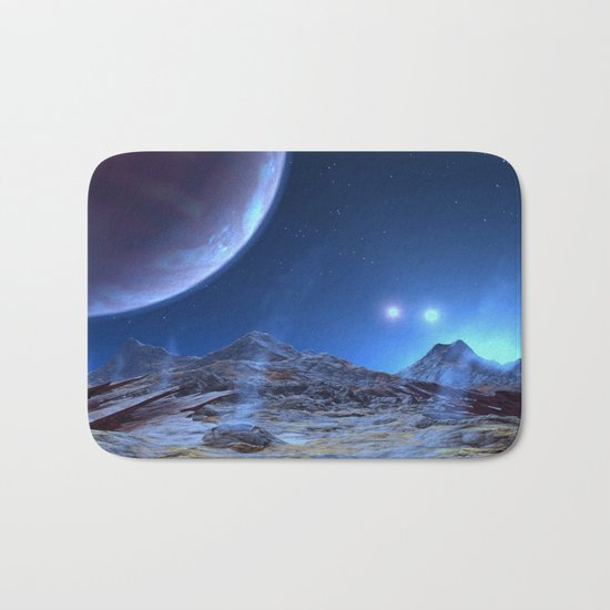 Extraterrestrial Landscape : Galaxy Planet Blue Bath Mat