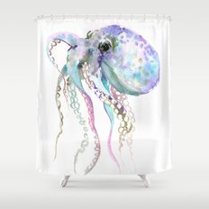 Octopus (soft gray, violet, turquouse) Shower Curtain