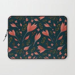 Delicate Autumn Florals II Dark Blue Laptop Sleeve