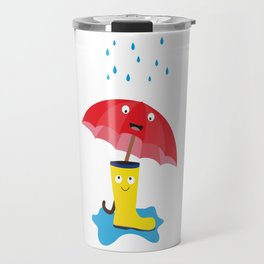 Raincloud, rubber boots and umbrella Travel Mug