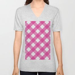 Pink & White Checkered Pattern-Mix and Match with Simplicity of Life Unisex V-Neck