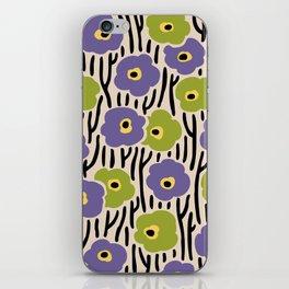 Mid Century Modern Wild Flowers Pattern Purple and Green iPhone Skin