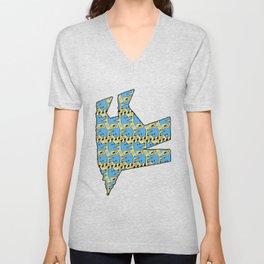 Blue Origami Dog Pattern  Unisex V-Neck