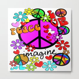 Imagine Peace Sybols Retro Style Metal Print