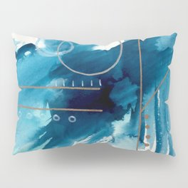 Beneath the Waves Series 2 - a blue and gold abstract mixed media set Pillow Sham