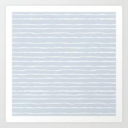 Grey and White Winter Stripes Art Print