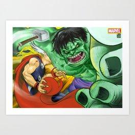 Thor v/s Hulk Art Print