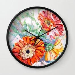 Gerbera Daisy Watercolor Wall Clock