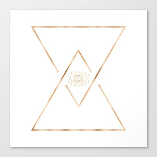 Mandala Gold Geometric Eye Canvas Print