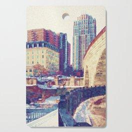 Minneapolis, Minnesota Skyline Stone Arch Bridge Cutting Board
