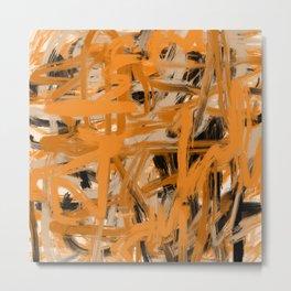 Orange & Taupe Abstract Metal Print
