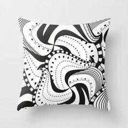 Black n White Zendoodle Waves Throw Pillow