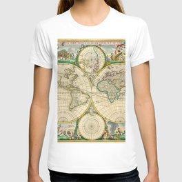 "Frederik de Wit ""Worldmap"" title Nova Orbis Tabula, In Lucem Edita (1670) T-shirt"