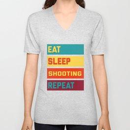 Eat Sleep Shooting Repeat Retro Edition Unisex V-Neck
