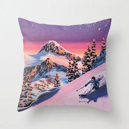 Skiier Throw Pillow