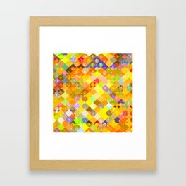 geometric square pixel and circle pattern abstract in yellow orange red blue Framed Art Print