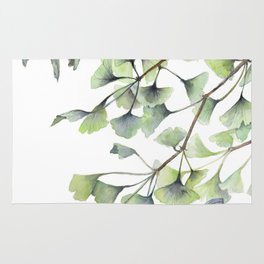 Mint Green Ginkgo Leaves and Green Goldfish Watercolor Design Rug