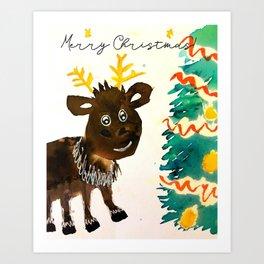 Merry Reindeer Art Print
