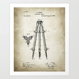 Tripod Patent Drawing Art Print