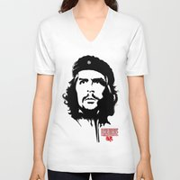 che V-neck T-shirts featuring CHE by favewavearts
