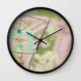 Bike ride through the daisys... Wall Clock
