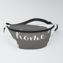 Wisconsin is Home - Charcoal on White Wood Fanny Pack