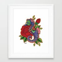 sea horse Framed Art Prints featuring Sea Horse by Amanda Marie Bell