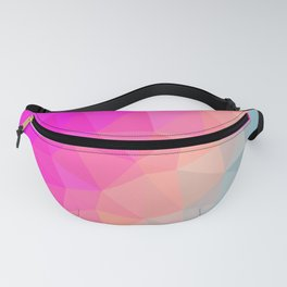 Dark Pink, Peach and Cyan Geometric Abstract Triangle Pattern Design  Fanny Pack