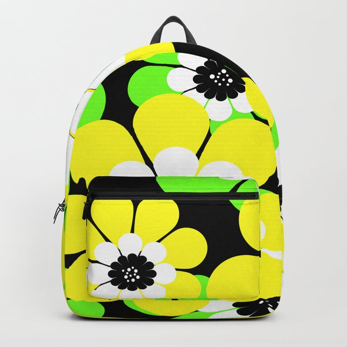 Yellow green bright floral pattern . Backpack