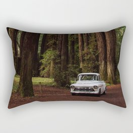 Classic White Truck in the Navarro Redwoods State Park in California, California Photography, Woodland Art, Magical Unique Print Rectangular Pillow