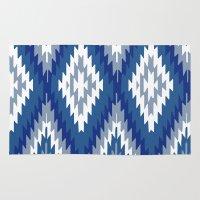 kilim Area & Throw Rugs featuring Kilim Rug Blue by suzyoconnor