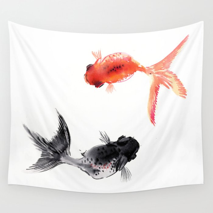 Two koi feng shui fish art wall tapestry by sureart for Koi fish wall decor