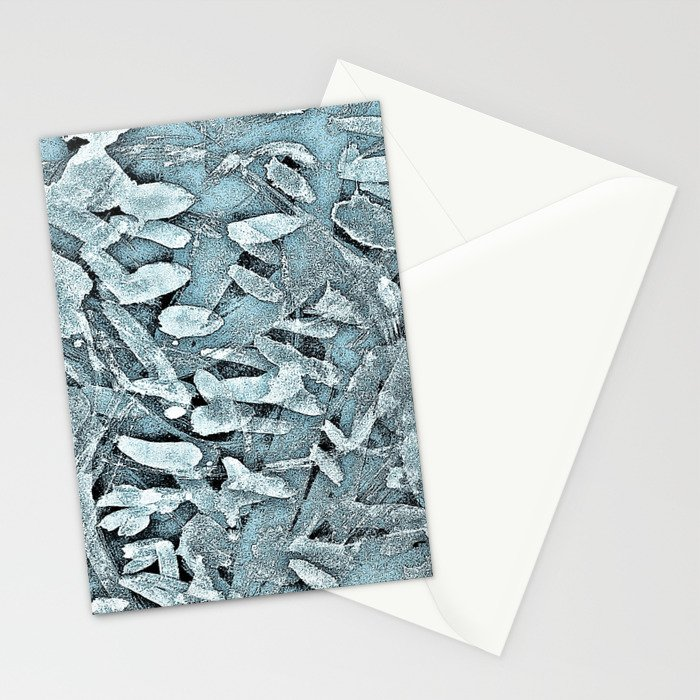Ocean Tips Silver Blue Abstract Stationery Cards