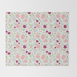 Positively Peonies Floral Pattern Throw Blanket