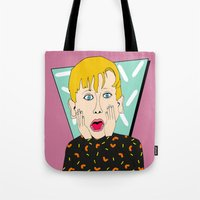 home alone Tote Bags featuring Home Alone by Elena Éper