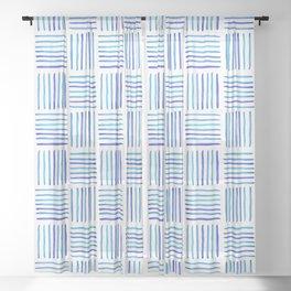 Sideways Stripes - Blue Watercolor Pattern Sheer Curtain