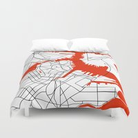 boston map Duvet Covers featuring Downtown Boston Map by Studio Tesouro