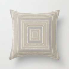 Sandy Beige Concentric Squares Throw Pillow
