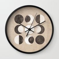 moon phases Wall Clocks featuring Moon Phases by cegphotographics