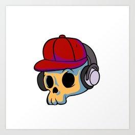cartoon skull with Earphones and hat Art Print