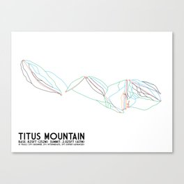 Titus Mountain, NY - Minimalist Trail Art Canvas Print