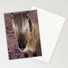 Icelandic pony with rosy posies Stationery Cards