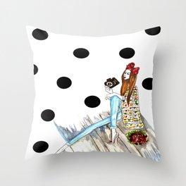 Dots & bow Throw Pillow