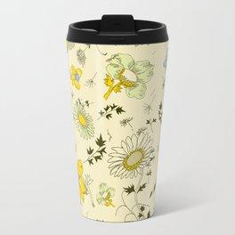 large flowers - cream and yellows Travel Mug